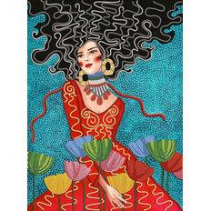 фото: картина для вышивки бисером девушка с яркими цветами