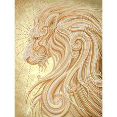 фото: картина, вышитая бисером, Золотой лев