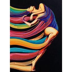 фото: картина, вышитая бисером, Экспрессия танца