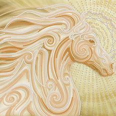 фото: картина, вышитая бисером, Золотой конь