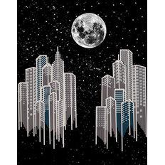 фото: картина, вышитая бисером, Ночной город