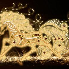 фото: картина, вышитая бисером, Волшебная лошадь