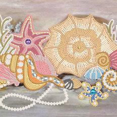 фото: картина для вышивки бисером, Ракушки с жемчугом