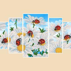 фото: картина для вышивки бисером Ромашки, полиптих из 5 частей