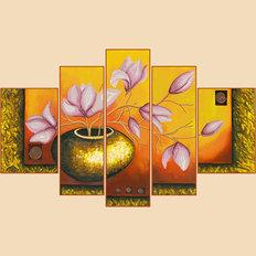 Схема для вышивки бисером Лепестки магнолий, полиптих из 5 частей