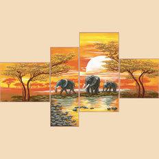 Схема для вышивки бисером Закат в саванне, полиптих из 4 частей