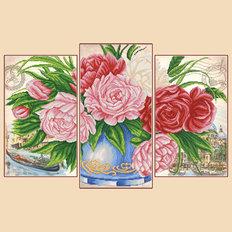 фото: схема для вышивки бисером Нежнее шелка, полиптих из 3 частей