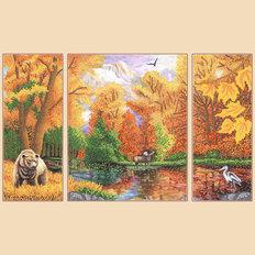 фото: схема для вышивки бисером Осень в лесу, полиптих из 3 частей