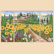 фото: схема для вышивки бисером Солнечные поля, полиптих из 3 частей