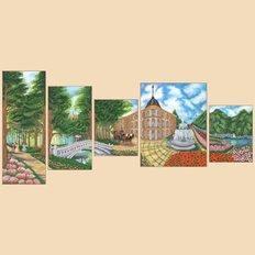 Схема для вышивки бисером Утренний променад, полиптих из 5 частей