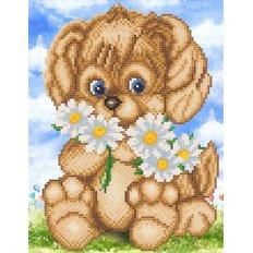 Схема для вышивки бисером Веселый щенок