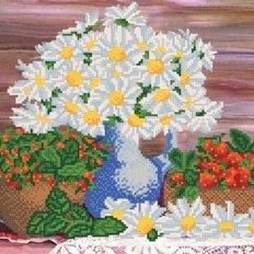 Схема для вышивки бисером Ромашки и ягоды