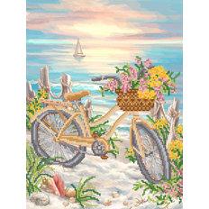 фото: картина для вышивки бисером, велосипедная прогулка по берегу моря