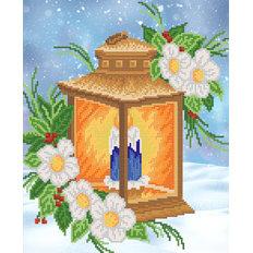 фото: картина для вышивки бисером, пламя свечи в фонарике
