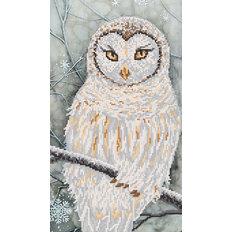 фото: картина для вышивки бисером белая сова, зимний сюжет