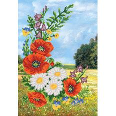 фото: картина для вышивки бисером Летние цветы на фоне цветущего луга