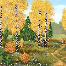фото: картина для вышивки бисером Осенние березки