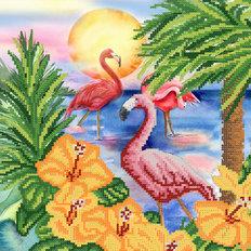 фото: картина для вышивки бисером Тропические цветы и фламинго