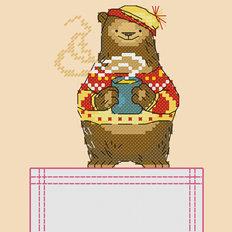 Схема для вышивки крестиком на одежде Мишка