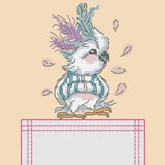Схема для вышивки крестиком на одежде Попугай
