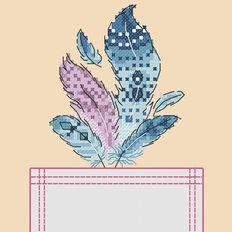 Схема для вышивки крестиком на одежде Перышки