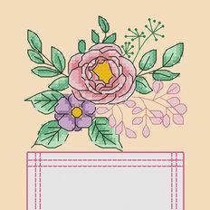 Схема для вышивки крестиком на одежде Цветы