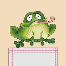 фото: схема на водорастворимой канве для вышивки на одежде Лягуха