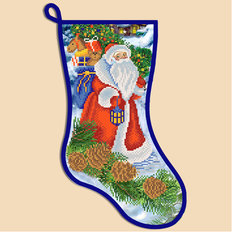 фото: схема для вышивки бисером Новогодний сапожок Дед Мороз