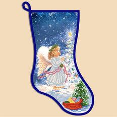 фото: схема для вышивки бисером Новогодний сапожок Ангел