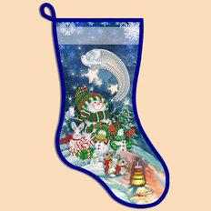 фото: схема для вышивания бисером новогоднего сапожка, Рождественский вечер