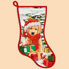 фото: схема для вышивания бисером новогоднего сапожка, Под елкой