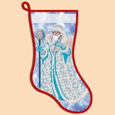фото: схема для вышивания бисером новогоднего сапожка, Снежный Дед Мороз