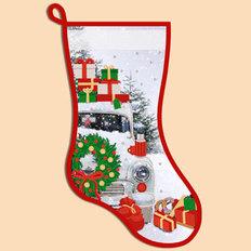 фото: схема для вышивания бисером новогоднего сапожка, Машина с подарками