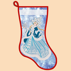 фото: схема для вышивания бисером новогоднего сапожка, Снежная Снегурочка