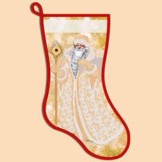 фото: схема для вышивания бисером новогоднего сапожка, Золотой Дед Мороз