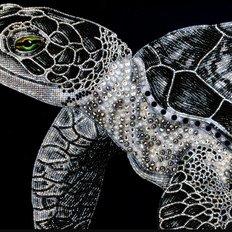 фото: картина, вышитая бисером и декоративными элементами, Черепаха