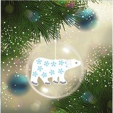 Схема-заготовка для вышивки новогодней игрушки Белый медведь