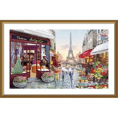 фото: картина, вышитая бисером Париж