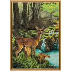 Набор для вышивки крестом Олени у ручья
