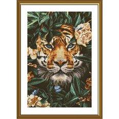 фото: картина, вышитая крестиком, Тигр