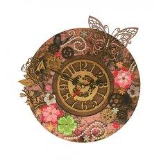 фото: часы для вышивки в смешанной технике Цветочное время