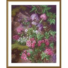 фото: картина, вышитая нитками на канве с фоновым изображением, Лесной пурпур