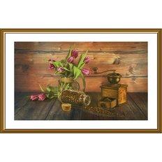 фото: картина, вышитая нитками на канве с фоновым изображением, Любимый аромат