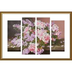 фото: картина, вышитая нитками на канве с фоновым изображением, Сирень и розы