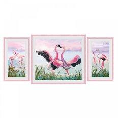фото: модульная картина для вышивки нитками на фоновой канве, Фламинго