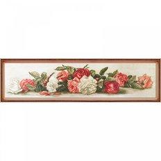 фото: картина для вышивки крестиком на канве с фоновым изображением букет роз