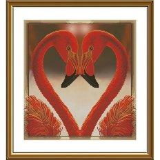 фото: картина, вышитая нитками на канве с фоновым изображением, Дела сердечные