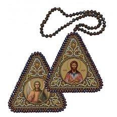 фото: икона, вышитая бисером на пластиковой основе Св. Прп. Алексий Человек Божий и Ангел Хранитель