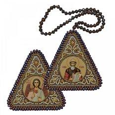фото: икона, вышитая бисером на пластиковой основе Св. Равноап. Князь Владимир и Ангел Хранитель