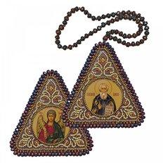 фото: икона, вышитая бисером на пластиковой основе Св. Прп. Сергий Радонежский и Ангел Хранитель